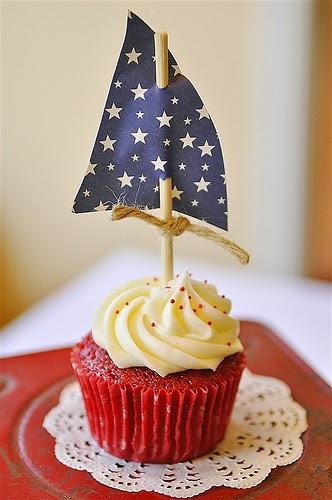 Cupcake de pirata en forma de barco