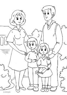 Desenhos Para Colorir Familias felizes e alegres