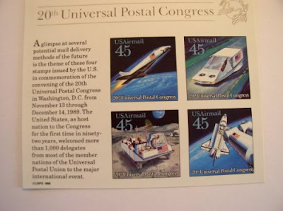 US Postal Souvenir Sheet from 20th Universal Postal Congress, 1989, Futuristic Mail Delivery, S# C 122-125, MNH