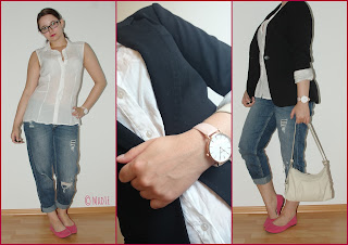 Outfit Boyfriend Jeans, Pink Shoes