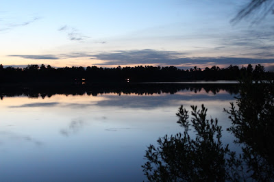 View at dusk across the lake,