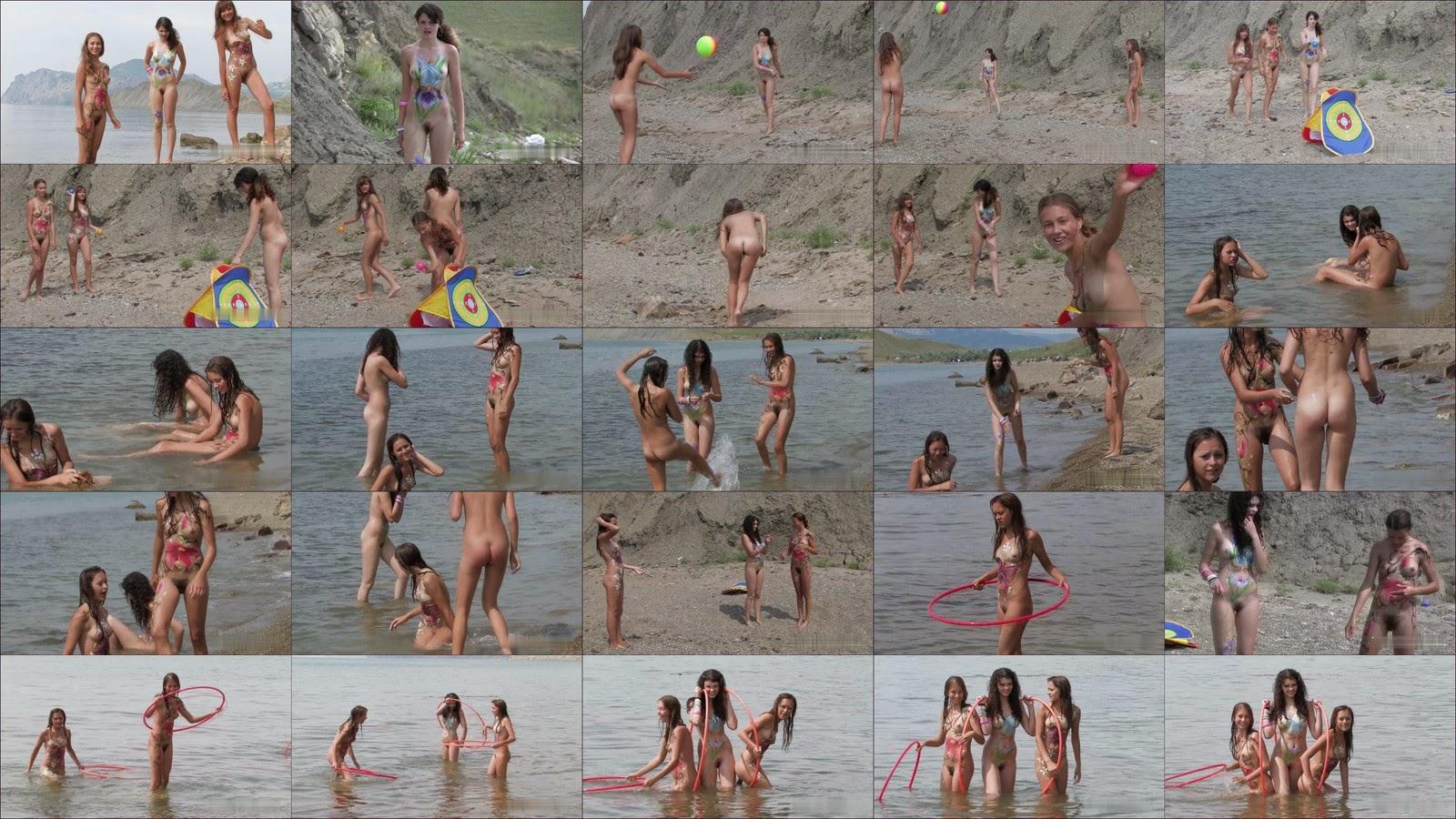 Body Art Nudist Beach. Part 1. Full version.