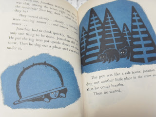 Two page spread from The Bears on Hemlock Mountain
