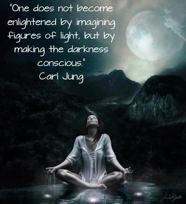 "Carl Jung poster with woman meditating and the quote: ""One does not become enlightened by imagining figures of light, but by making the darkness conscious."""