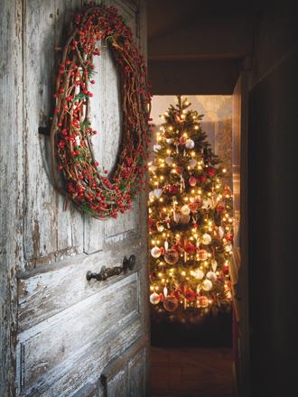 decoración navideña en rojo