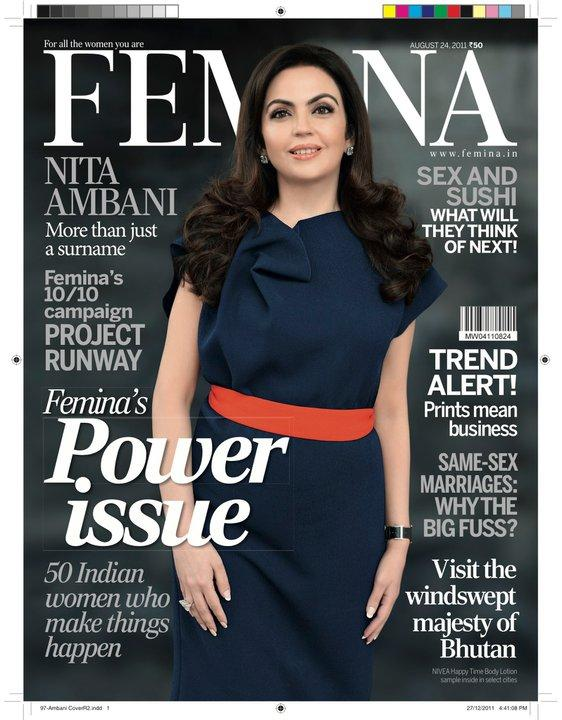 Nita Ambani  - Nita Ambani on Femina Magazine Cover August 2011 Edition
