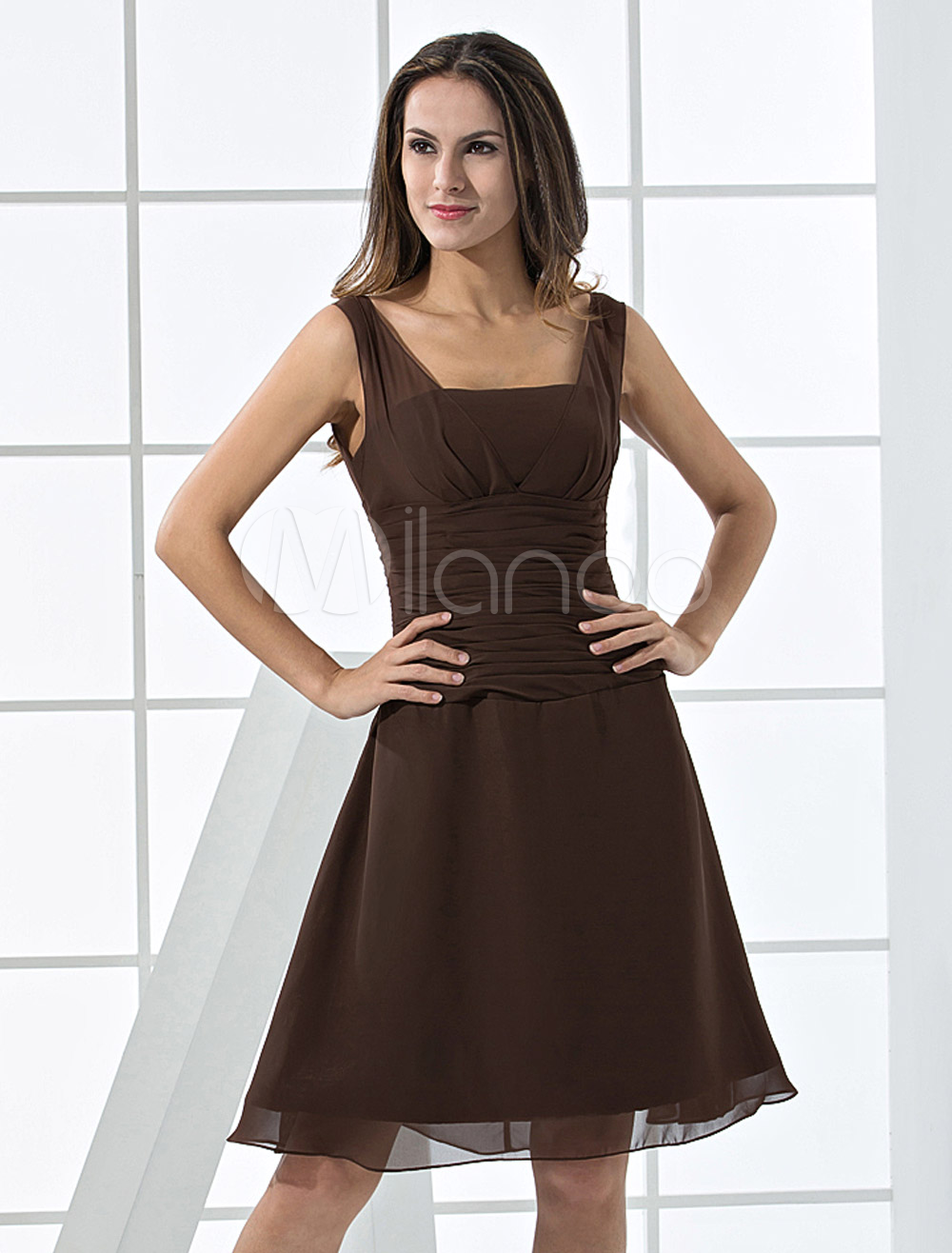 China Wholesale Clothes - Cocktail Dress Chocolate A-line Square Neck Chiffon Cocktail Dress