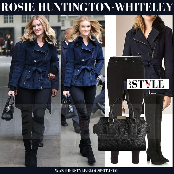 Rosie Huntington-Whiteley in navy blue belted burberry jacket, skinny jeans and black stuart weitzman highland suede boots what she wore models off duty