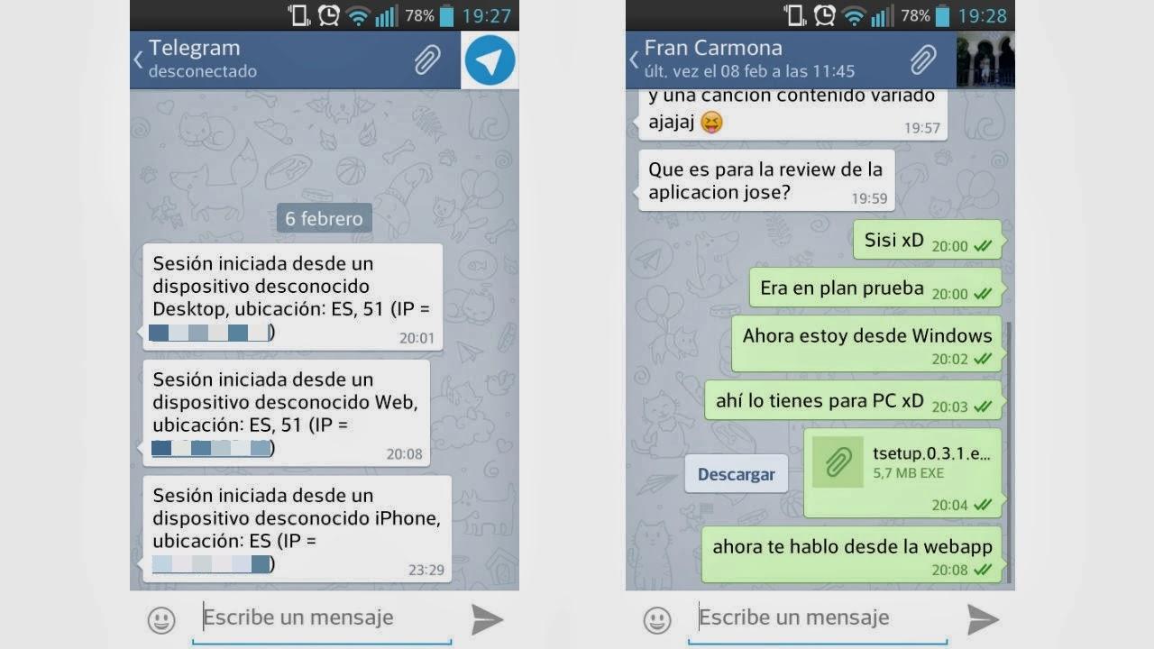 Usando Telegram