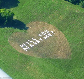 A field with a heart shape patch mowed out, with the message 'will you marry me?' arranged using white sheets