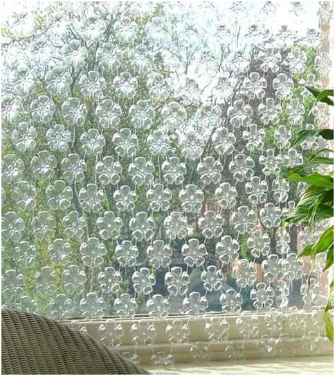 Plastic bottle curtains tutorial. Eco friendly decoration.