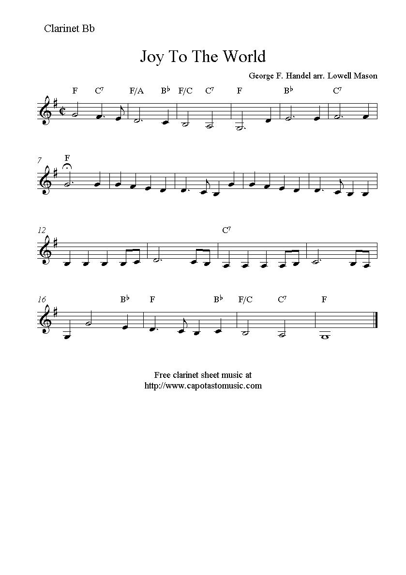 Joy To The World, free Christmas clarinet sheet music notes