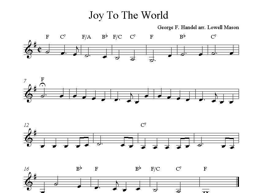 Free Sheet Music Scores: Joy To The World, free Christmas clarinet sheet music notes