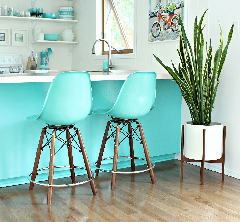 Turquoise modernica side shell stools