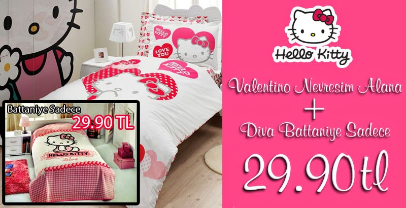 Hello Kitty Valentino Nevresim Takımı Alana Diva Battaniye Sadece 29.90 TL