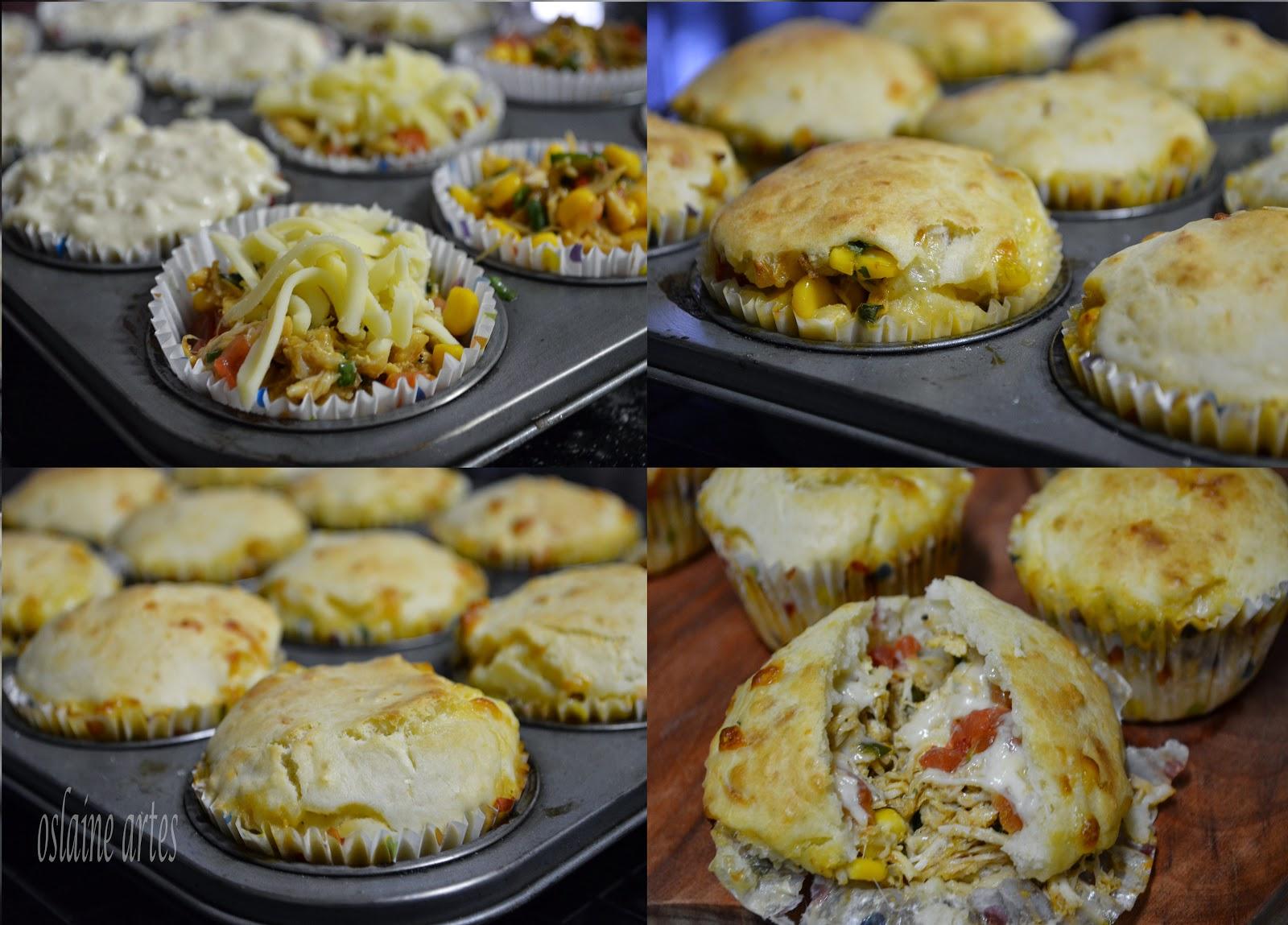 Muffins Recheados com Frango e Queijo