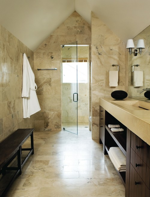 A bath by Kohler  houzz com   Here too you can see the use of a natural  color palate  a great way to prevent the space from getting dates fast. Attic Works  Attic bathrooms