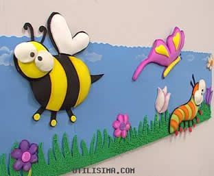 El hada de la sala amarilla enero 2012 - Decorar paredes infantiles con goma eva ...
