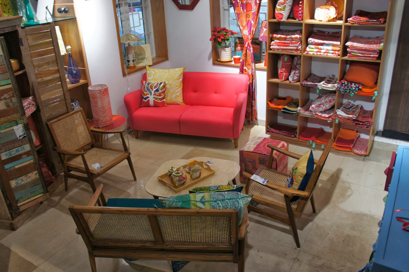Freedom Furniture Christmas Tree Part - 50: I Love This 50s Sofa Combined With Colonial Style Rattan Chairs. Pink Sofa  Rs 33,800. Wooden Chair 10,800