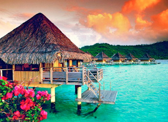 Bora Bora, view of water and accomodations