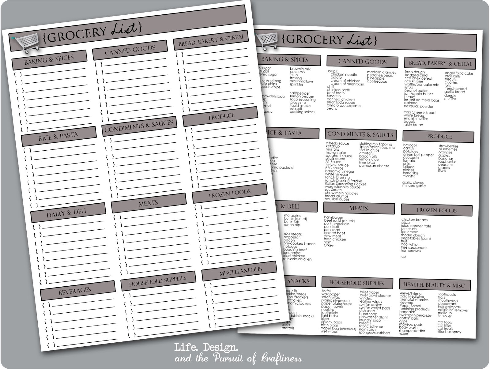 LifeDesign and the Pursuit of Craftiness Printable Grocery List – Grocery Template Printable
