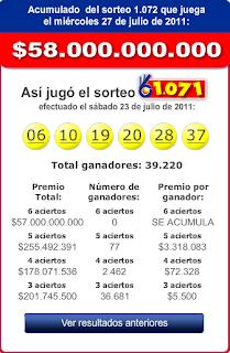 Resultados Baloto Sorteo 1071, 23 Julio 2011