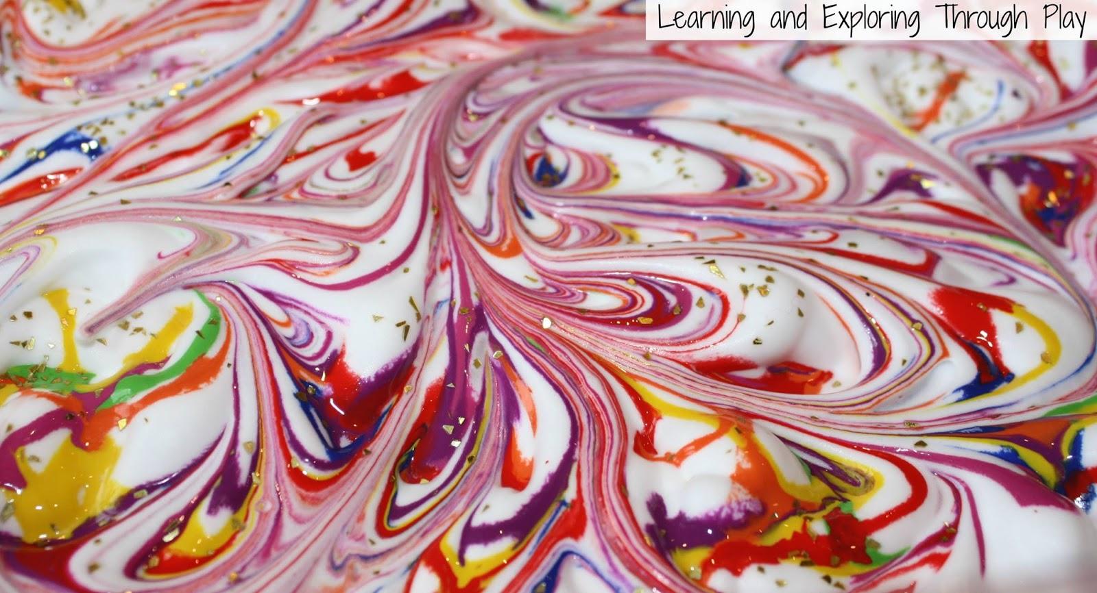 fun art process using shaving foam
