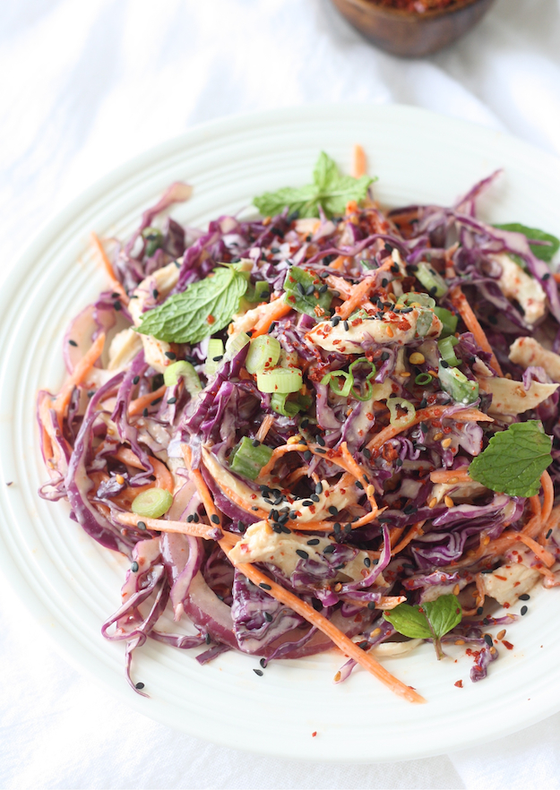 Red Cabbage Salad with Spicy Miso Dressing by SeasonWithSpice.com