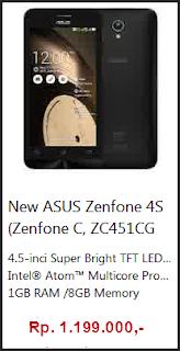 harga terbaru zenfone 4s (zenfone c, zc451cg)