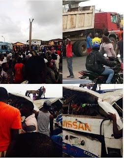 Billboard Falls On Bus In Lagos, Kills Three People, Several Injured (Photos)