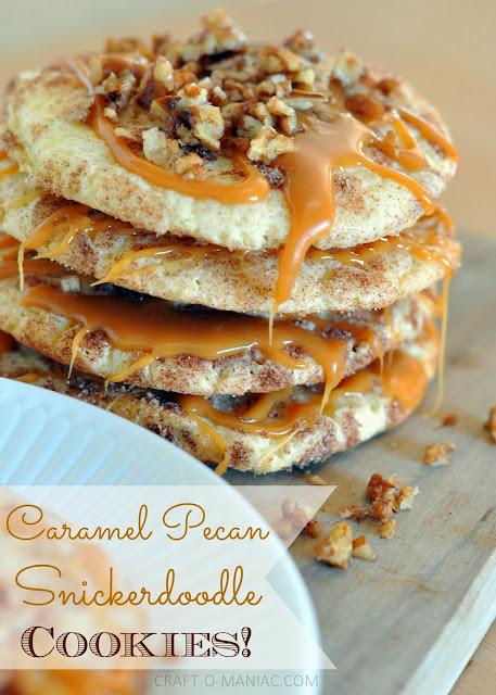caramel pecan snickerdoodle cookies