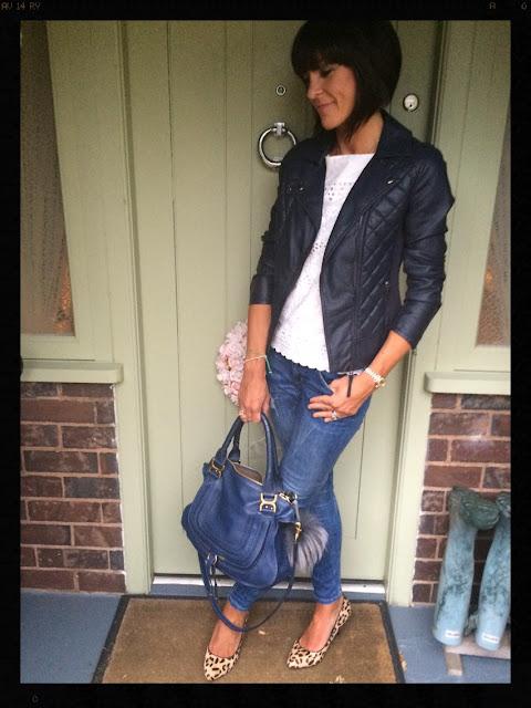 My Midlife Fashion, Marcie, Chloe, Leopard Print Court Shoes, Skinny Distressed Jeans, Marks and Spencer, Mint Velvet Embroidery Anglaise, Fur pom pom keyring, biker jacket