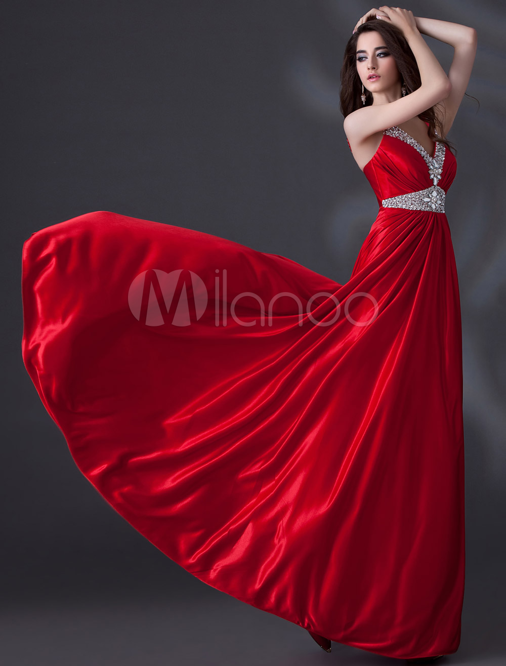Red Spaghetti Straps Beading A-line Elastic Silk Like Satin Evening Dress