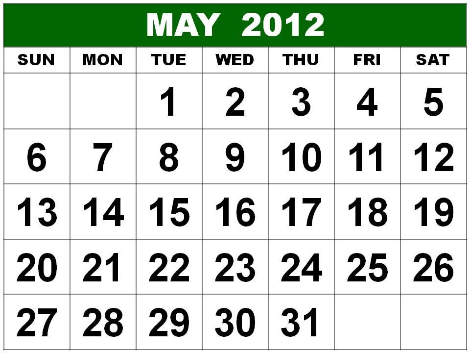 calendar 2012 printable. Printable May 2012 Calendar