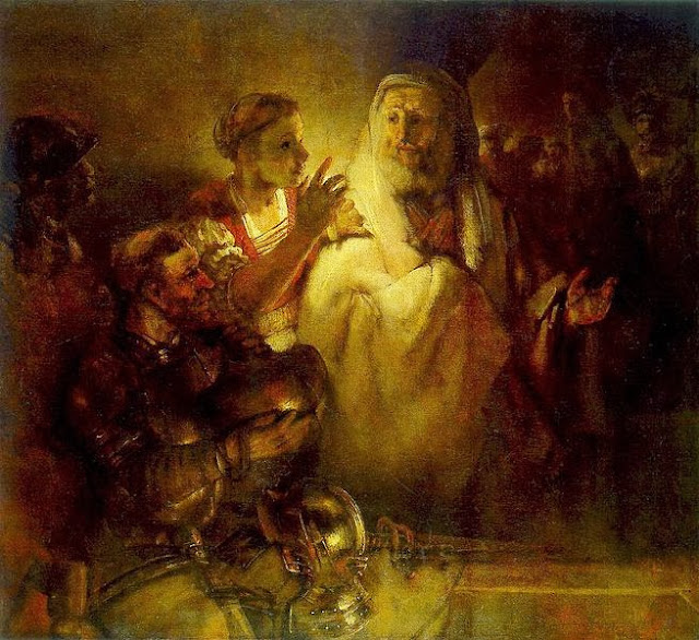 """Picture of """"St. Peter's Denial"""" by Rembrandt, 1660"""