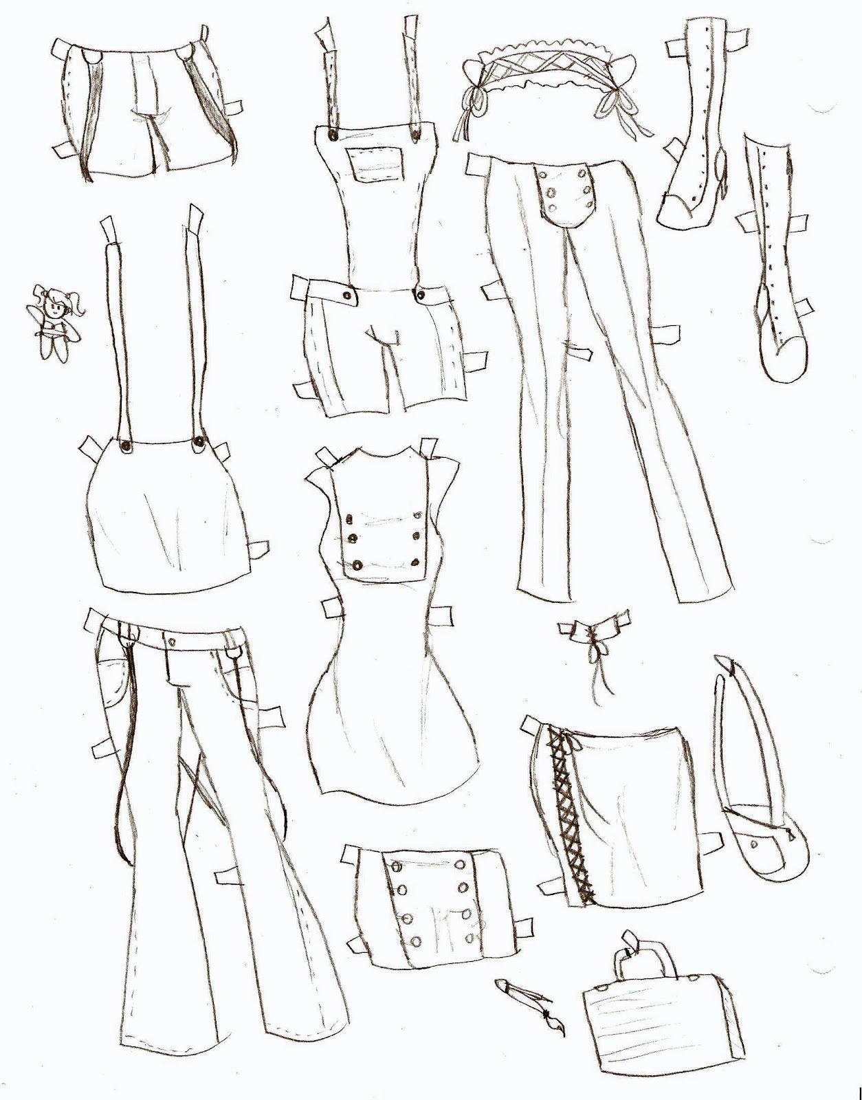 Girl Shorts Drawing First Page Includes Shorts