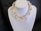 Light Pink, Ivory, Bronze and Champagne Pearl Twisted Pearl Bridal Necklace