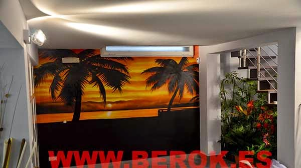 Decoración graffiti mural de puesta de sol