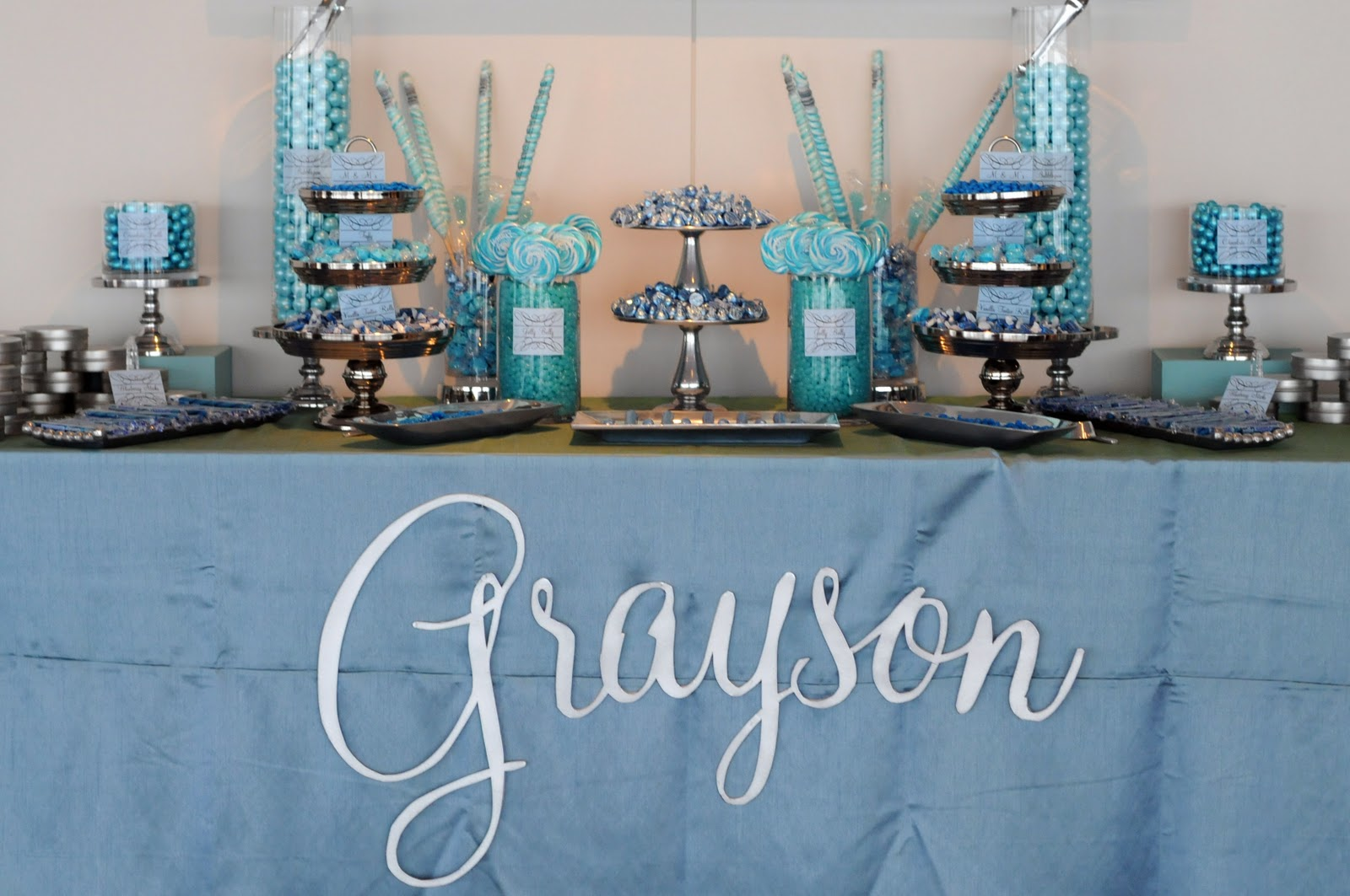 Blue Baby Shower Candy Buffet Part - 36: OUR BLUE BABY SHOWER-featured In Life U0026 Baby!