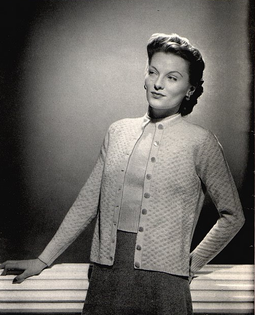 The Vintage Pattern Files - Free Knitting Pattern Womens Ranier Twin Set 1940's