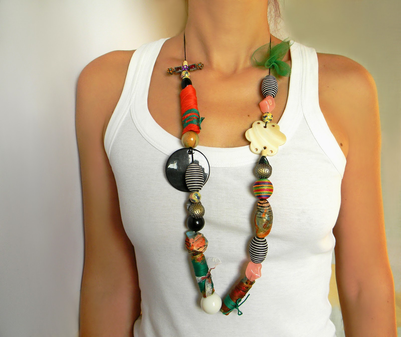 Oversized Statement Necklace with Large Beads and Textile Collages