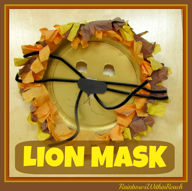 photo of: Lion Mask Using Party Plate, Tissue Paper and Pipe Cleaners via Jungle RoundUP at RainbowsWithinReach