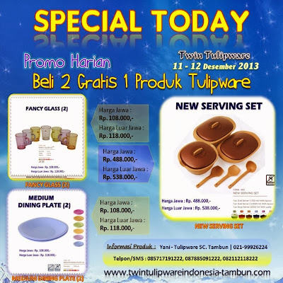 Promo Harian Tulipware 11 - 12 Desember 2013, Fancy Glass, Medium Dining Plate, New Serving Set