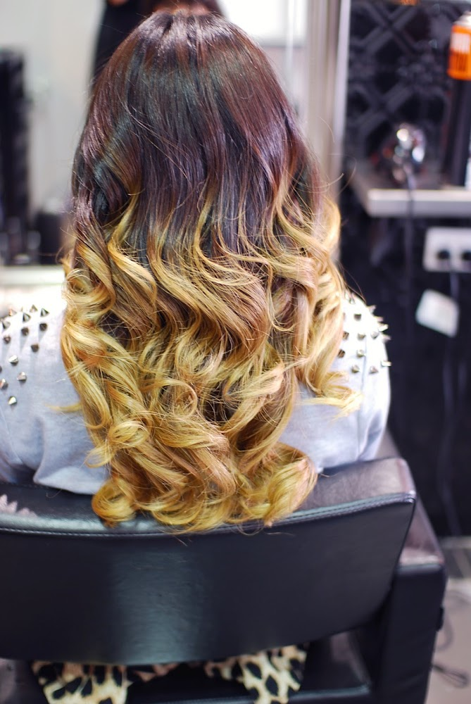 Balayage Hair Dip Dyed Brown to Blonde GHD Curls