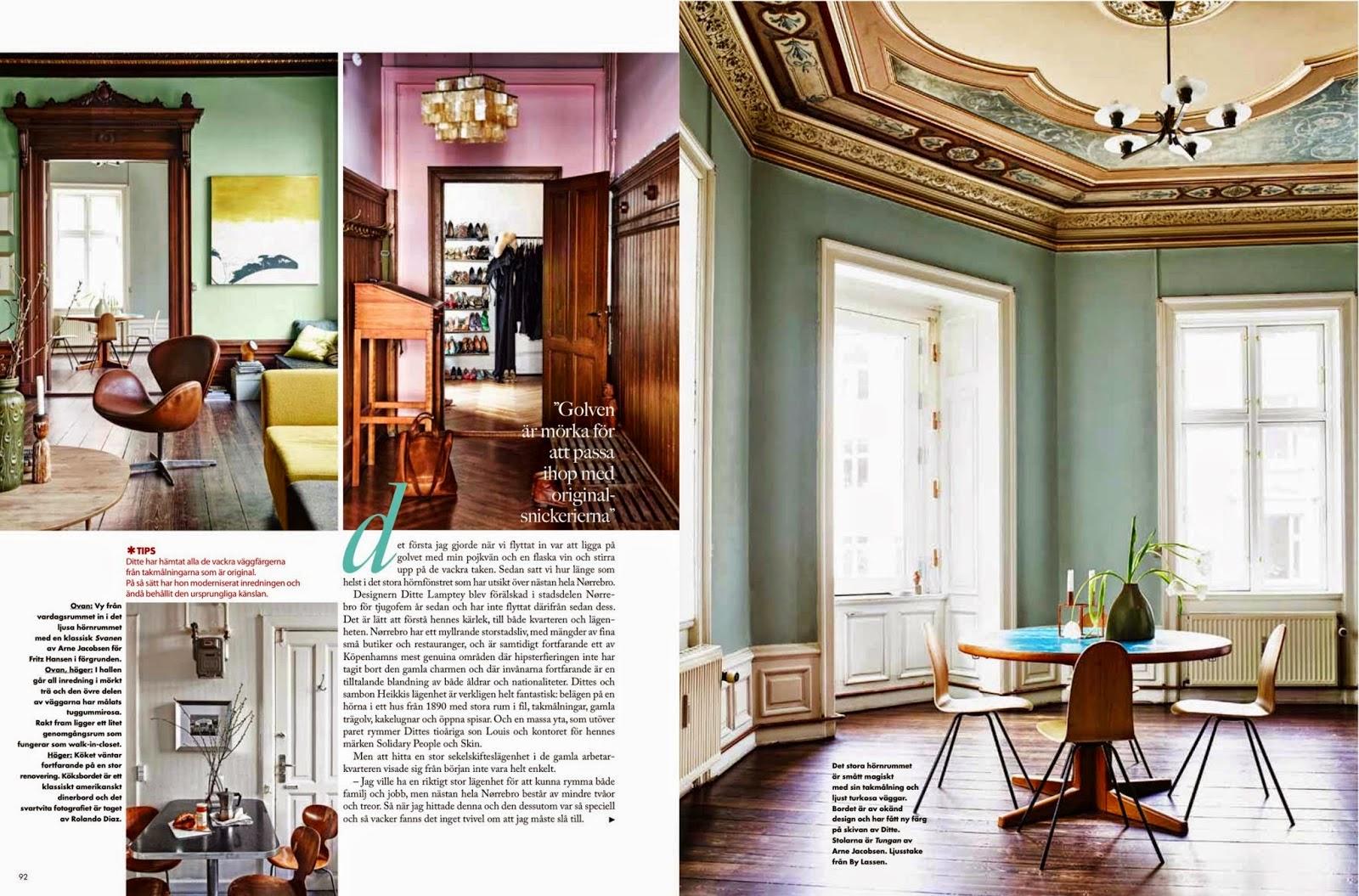 Skandinavisches Design peppt gründerzeitliche Wohnung auf – Farbe plus Designklassiker von Arne Jacobsen, Verner Panton und Poul Henningsen