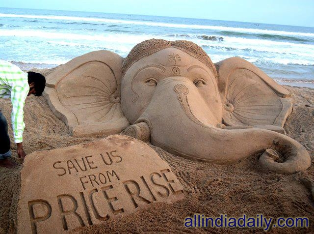 On the eve of Ganesh Puja sudarsan Pattnaik have created sand sculpture of Lord Ganesh at Puri beach of Odisha