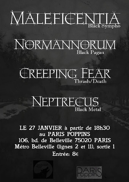Maleficentia / Normannorum / Creeping Fear / Neptrecus @Paris Poppins, Paris 27/01/2013