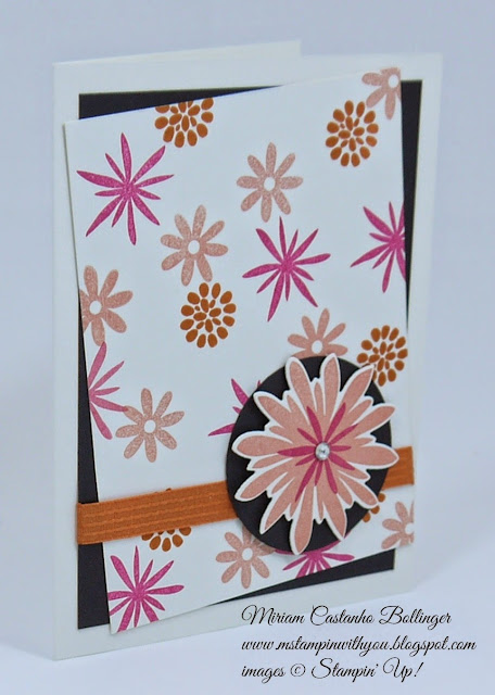 "Miriam Castanho Bollinger, #mstampinwithyou, stampin up, demonstrator, dsc 132, flower patch bundle, big shot, 2"" circle punch, all occasions card, su"