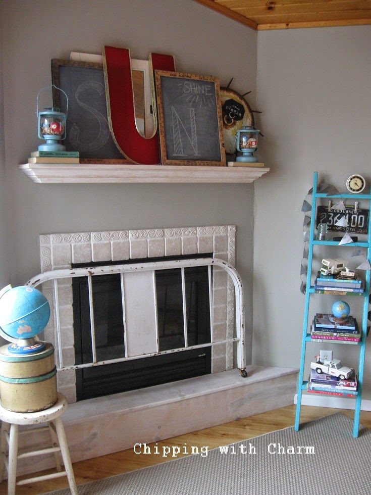 Chipping with Charm:  Sun Shine Spring Mantel...http://www.chippingwithcharm.blogspot.com/