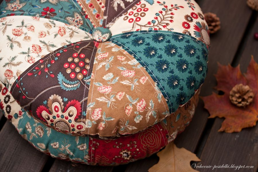 Круглая подушка своими руками фото